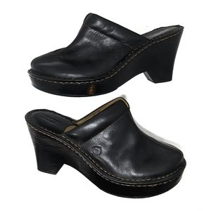 Born Black Leather Slip On Clogs Mules Size 8